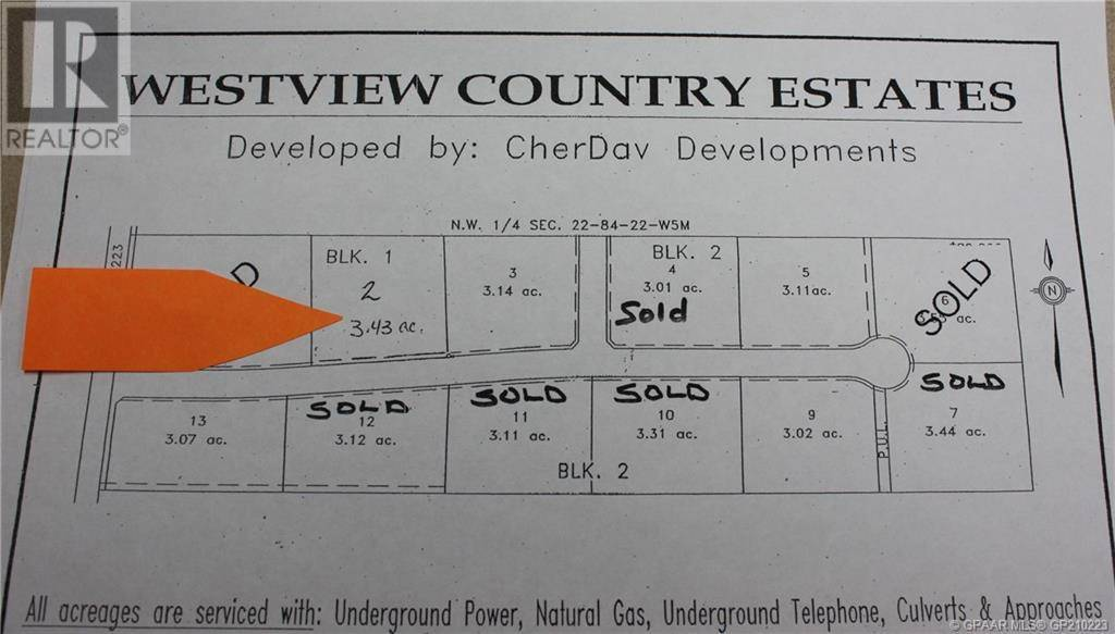 Residential property for sale at 0 Blk 1 Plan 0829233  Unit 0829233 Northern Lights, Countyof Alberta - MLS: GP210223