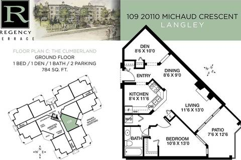 Condo for sale at 20110 Michaud Cres Unit 109 Langley British Columbia - MLS: R2422182