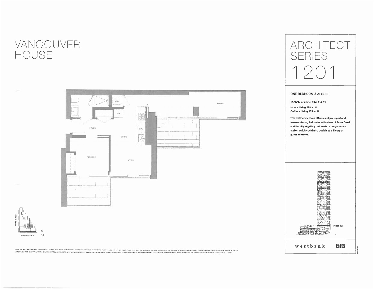 For Sale: 1201 - 1480 Howe Street, Vancouver, BC | 2 Bed, 1 Bath Condo for $1,100,000. See 2 photos!