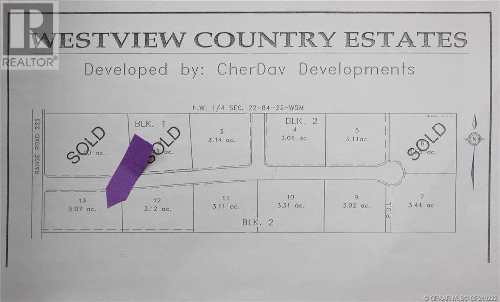 Home for sale at 13 Westview Country Estates L13  Northern Lights, Countyof Alberta - MLS: GP210222
