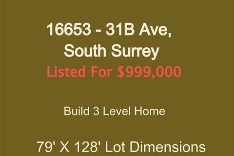 Home for sale at 16653 31b Ave Surrey British Columbia - MLS: R2390643