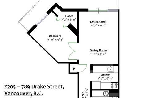 Condo for sale at 789 Drake St Unit 205 Vancouver British Columbia - MLS: R2413098