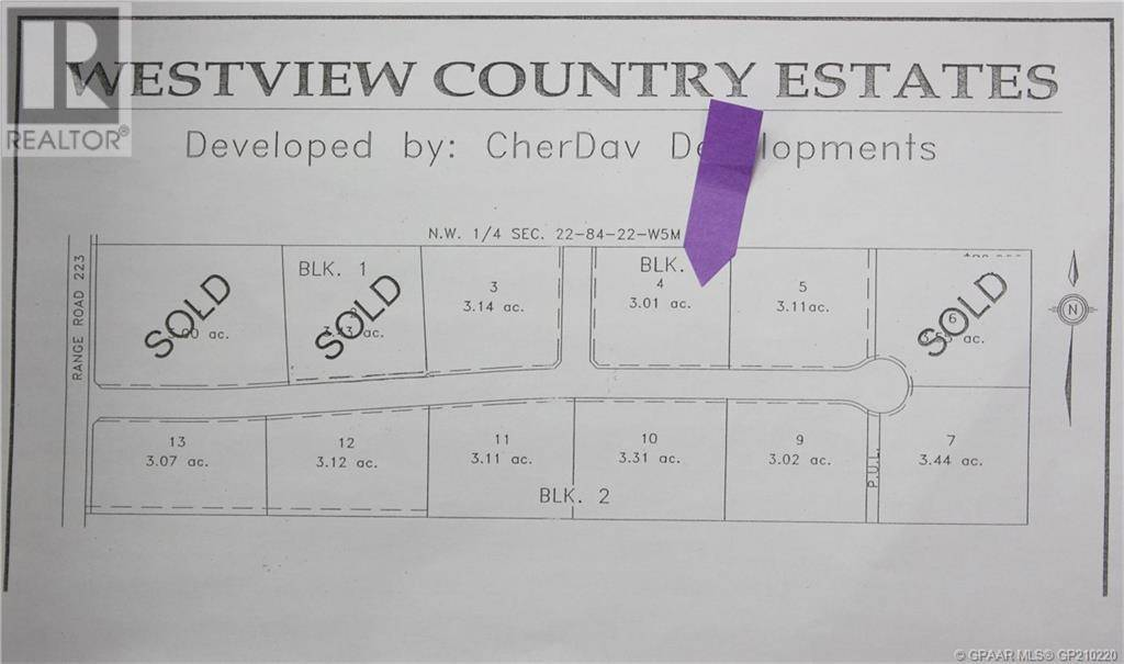 Residential property for sale at 4 Westview Country Estates L4  Northern Lights, Countyof Alberta - MLS: GP210220