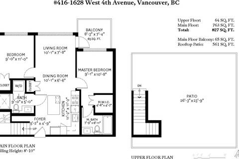 Condo for sale at 1628 4th Ave W Unit 416 Vancouver British Columbia - MLS: R2422987