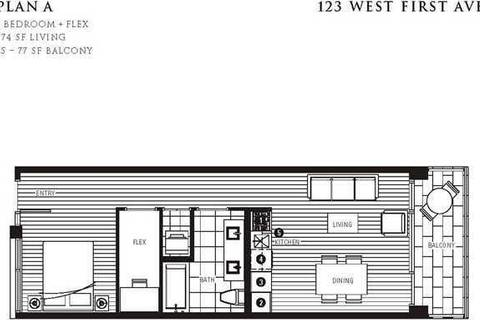 Condo for sale at 123 1st Ave W Unit 608 Vancouver British Columbia - MLS: R2437564