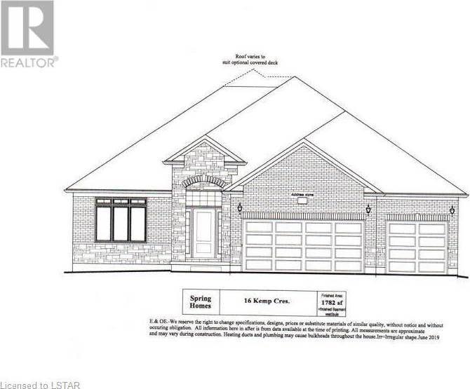 House for sale at  Kemp Cres Unit Lot 16 Strathroy Ontario - MLS: 212386