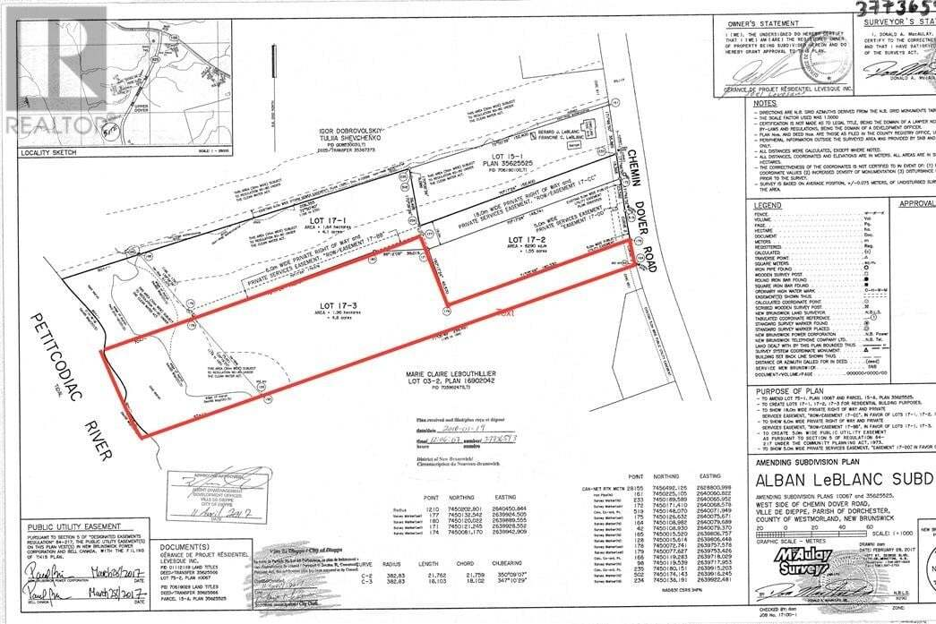 Residential property for sale at Lot 17-3 Dover Rd Dieppe New Brunswick - MLS: M120344